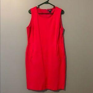 EUC hot pink knit Lands End sheath dress 16